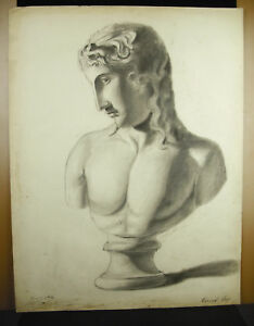 Eugene-Cornet-Drawing-Xixth-Original-Bust-a-Roman-Scalp-in-the-Ancient-62-CM