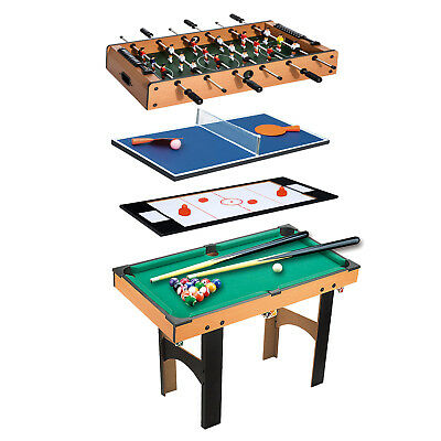 HOMCOM  Table Multi Jeux 4 en 1 Babyfoot/Billard/Air Hockey/Ping-Pong