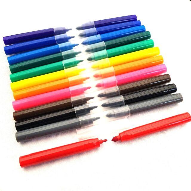12pcs Dual Tip Double Felt Tipped Pens Dual Fine & Thin Thick Duel Colouring Set