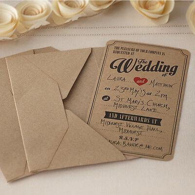 10 VINTAGE AFFAIR WEDDING INVITATIONS in BROWN KRAFT with ENVELOPES