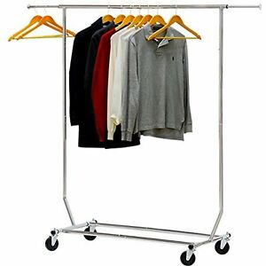 Commercial Grade Rolling Garment Rack Single Rail Rod
