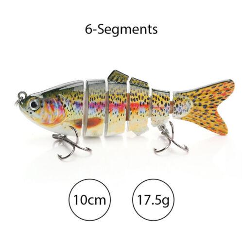 6 SEGMENT BASS FISHING LURE LIFELIKE HARD BAIT SWIMBAIT freshwater lure