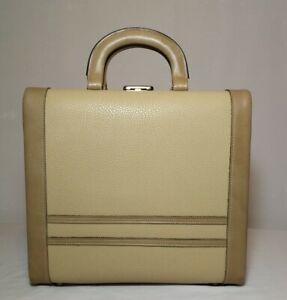 1970s-Vintage-Light-Tan-Vanity-Astor-Safe-Make-up-Hair-Salon-Case-Handbag