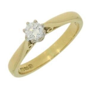 Ladies-Diamond-Ring-18ct-Yellow-Gold-Solitaire-0-20ct-Diamond-CH891