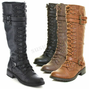 2018-Women-Biker-Motorcycle-Leather-Knee-High-Soft-Boots-Lace-Up-Low-Heel-Shoes