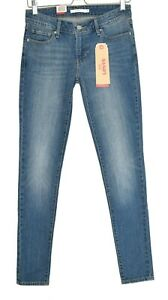Womens-Levis-SKINNY-711-Medium-Blue-Mid-Rise-Stretch-Jeans-Size-8-W26-L30-NEW