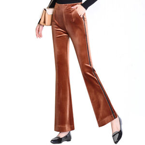 UK Women Ribbed High Waist Flare Wide Leg Chic Ladies Trousers Bell Bottom