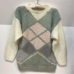 VTG-TJW-By-Mervyns-Sweater-Womens-Large-Kawaii-Fairy-Kei-Pastel-Pink-Teal-Purple