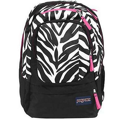 Air Cure JANSPORT Black White Pink Pansy Miss Zebra w//Laptop Sleeve BACKPACK