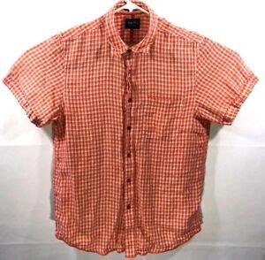 e368705ec9 Mens Large Indigo Palms Button Down Plaid Shirt Orange Cream Tommy ...