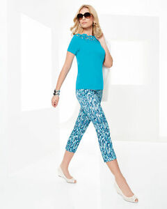 Artigiano Italian Printed Cropped Trousers Size UK 16 Blue LF075 HH 15 - Sutton Coldfield, West Midlands, United Kingdom - Artigiano Italian Printed Cropped Trousers Size UK 16 Blue LF075 HH 15 - Sutton Coldfield, West Midlands, United Kingdom