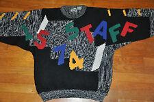 Vtg 80s 90s STAFF Teacher funky fun Alphabet Math acrylic Sweater baggy black XL