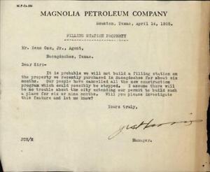 1925 Houston Texas (TX) Letter Magnolia Petroleum Company Zeno Cox Jr.