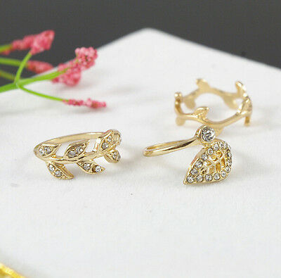 Hot Sold Gold/Silver 3pcs Ring Set Simple Leaf Midi Knuckle Top of Finger Rings