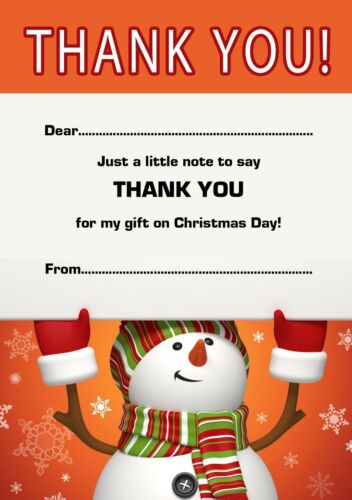 Christmas Thank You Notes x 20 A5 with envelopes Snowman Gift Thank You