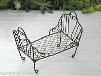 Miniature Dollhouse Fairy Garden Furniture Antiqued Metal Wire Day Bed