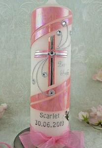 Taufkerze Kommunionkerze Kreuz rosa pink silber modern Taufkerzen für Mädchen