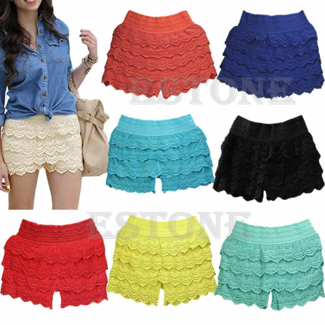 Women Sweet Crochet Tiered Lace Blooming Floral Short Pants Skirts Mini Dress