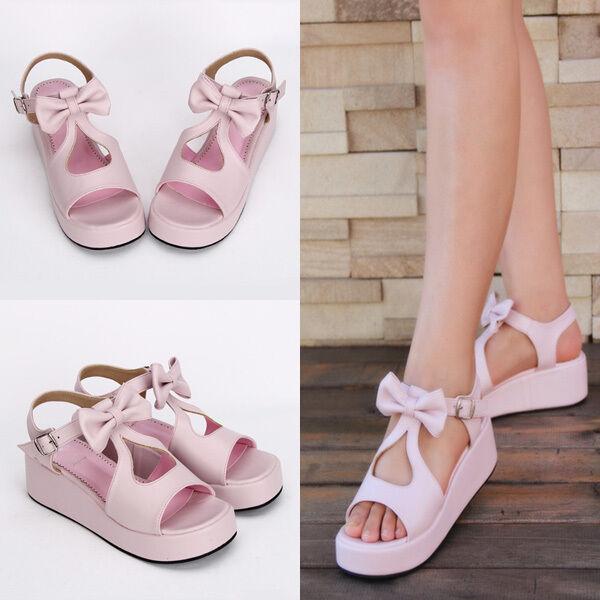 Sweet Lolita Bow Rosa Rosa Schuhe schuhe sandals Sandalen Cosplay Kostüm Princess