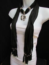 New Women Necklace Fashion Black Soft Scarf Silver Flower Pendant Christmas Gift