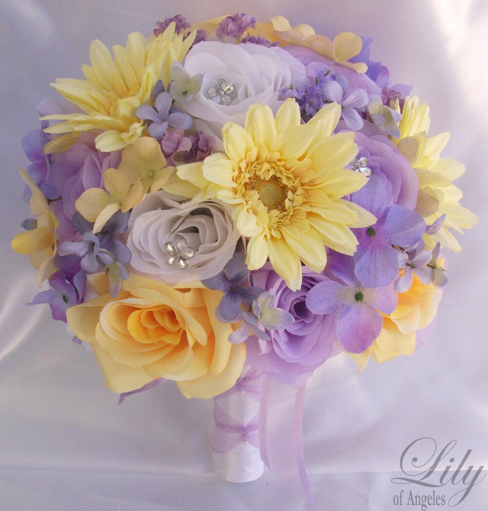 17pcs Robe de Mariage Bouquet Set Décoration Paquet fleurs de soie lavande jaune