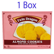 1 Box Twin Dragon Almond Cookies with Diced Almonds Chinese Food Cookies 8oz NEW
