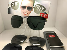 AUTHENTIC RAY BAN RB 3461 002/71 59MM CHANGEABLE LENS POLARIZED FLIP OUT