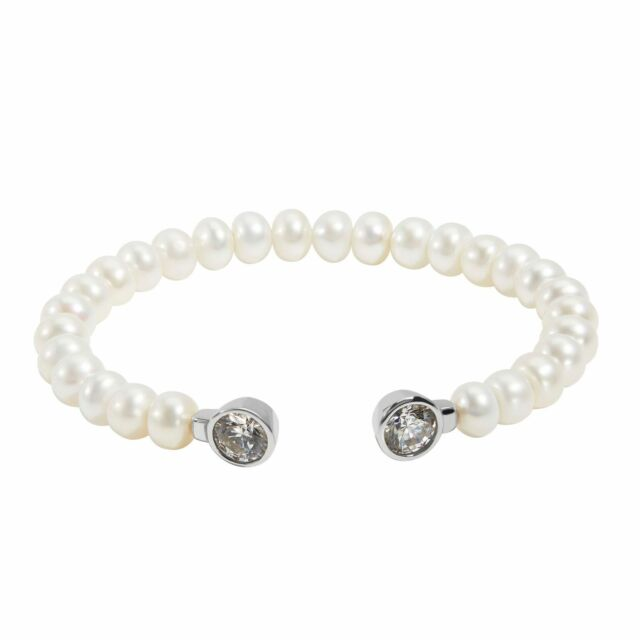 Honora Sterling Silver 8mm FW Pearl & Cubic Zirconia Cuff Bangle Bracelet