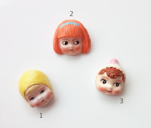 Miniature Vintage hand painted resin baby head doll face cabochon with flat back