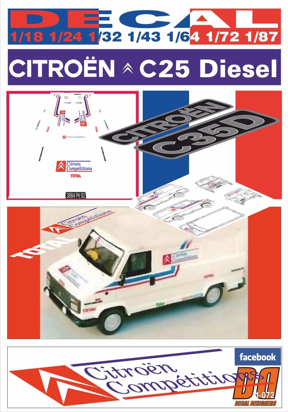 DECAL CITROEN C25D ASSISTANCE CITROEN COMPETITIONS 1988 (08) (08) (08) d4a944
