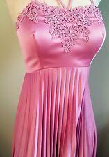Rose Dress ~ Vintage 1970's Handmade Formal Bridesmaids Prom Pleated Maxi Dress