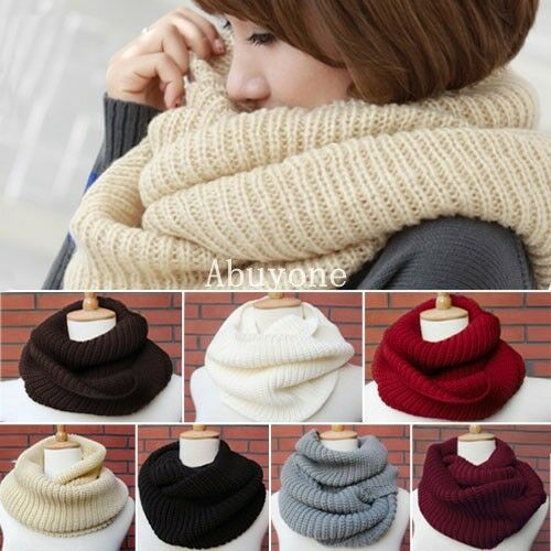 Ladies-Women-Winter-Knitted-Crochet-Long-Snood-Tube-Scarf-Shawl-Neck-Warmer