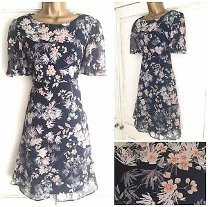New Ex M/&S Ladies Floral Chiffon Multi 2 Piece Blouse Top 3//4 Sleeve Size 8-18