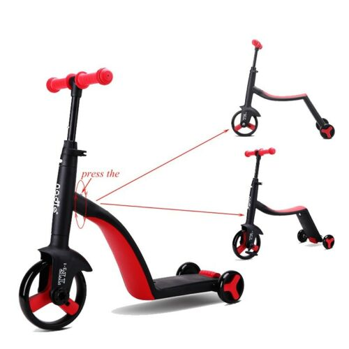 Adjustable Child Kid Scooter Tricycle 3 In 1 Balance Bike Ride On 3 Wheels Gift