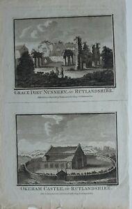 c1786-ANTIQUE-PRINT-GRACE-DIEU-NUNNERY-RUTLANDSHIRE-OKEHAM-CASTLE