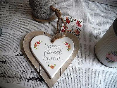 Home Sweet shabby 1x Holzschild Schild Schrift Herz Shabby Vintage Anhänger 0007