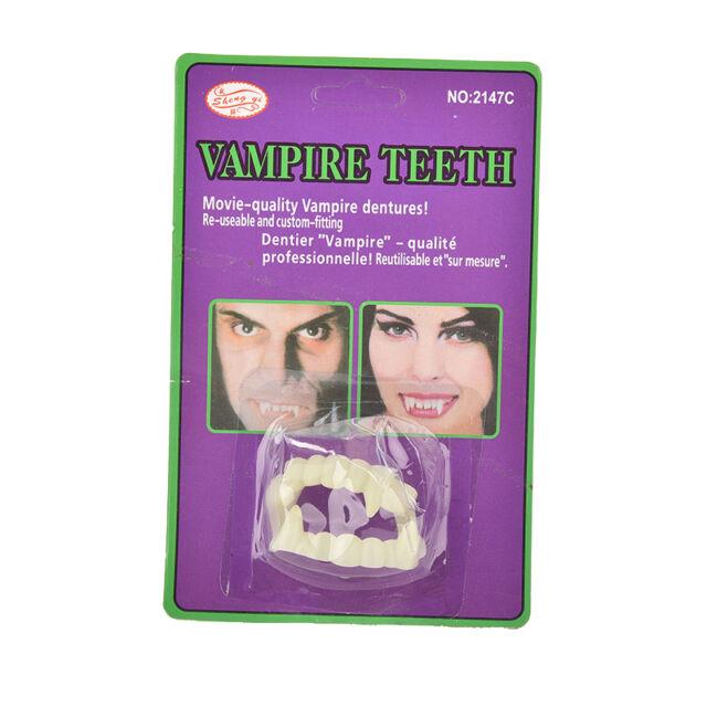 1PC Funny Scary Halloween Party Prop Plastic Luminous Vampire Teeth Joke Toy SP