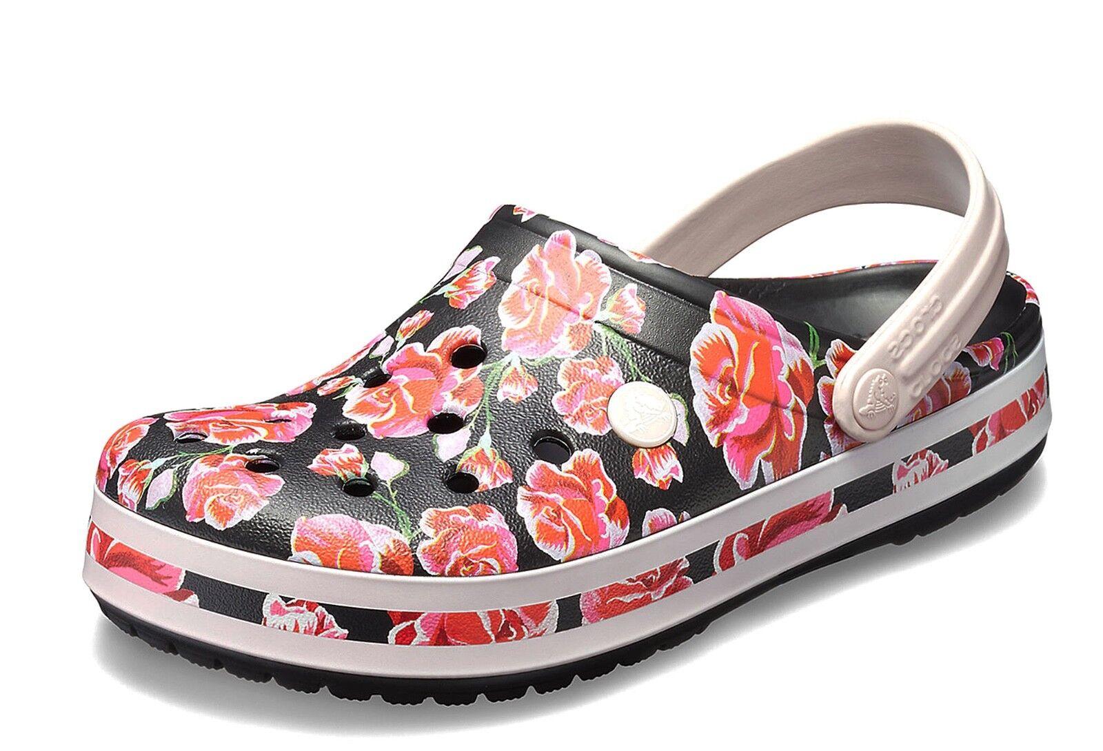 Crocs NEW Crocband Graphic III comfort clog schwarz pink floral comfort III schuhe UK Größe 3-9 75c921