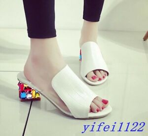 Rhinestones-Sandals-Slippers-Womens-Slingback-Mid-Heel-Chunky-Peep-Toe-Shoes-Hot