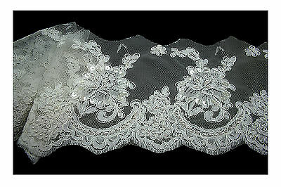 "Unotrim 7.5"" White Corded Pearl Beaded Sequins Scalloped Lace Trim by Yardage"