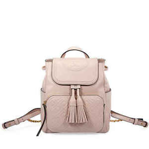 f9478f65df78 Details about Tory Burch Fleming Leather Backpack- Shell Pink 45143-652