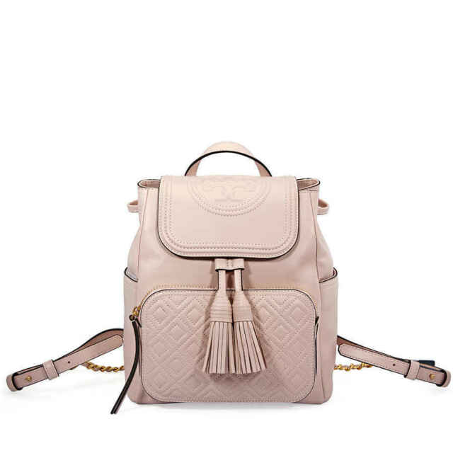 f16ff18ca976 Tory Burch Fleming Lambskin Leather Backpack Shell Pink for sale ...