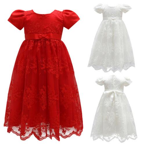 Infant Newborn Baby Girls Short Sleeve Floral Princess Baptism Christening Dress