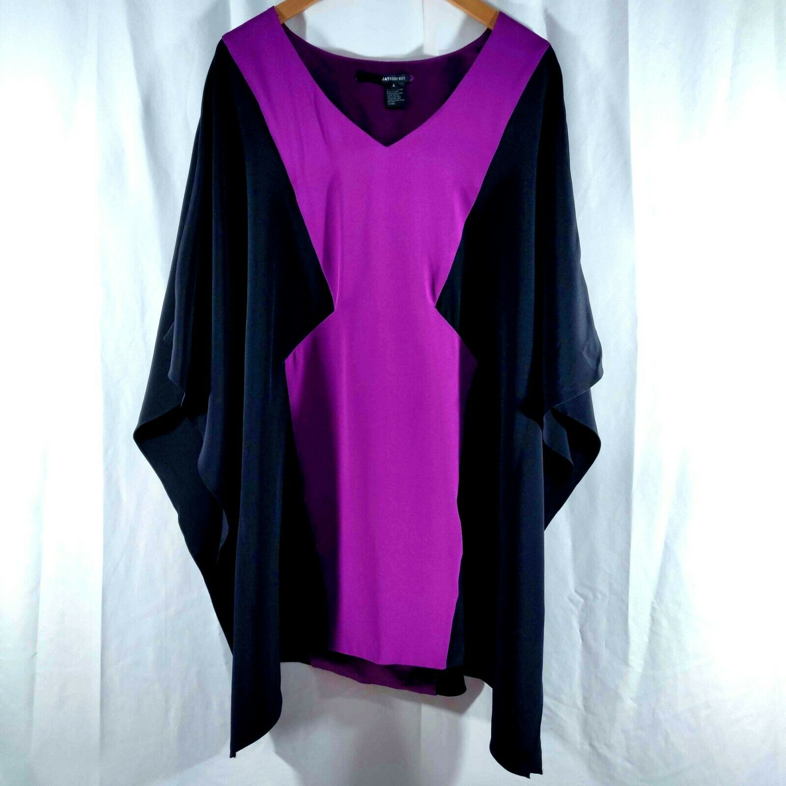 JAY GODFREY Kaftan Dress schwarz Magenta Rosa Farbe Block Mini V Neck 100% Silk 4