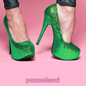 Damenschuhe-pumps-Pumps-Burleske-38-GRUN-glitter-Pumps-PLS-10