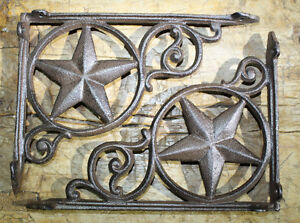 2 Cast Iron Antique Style Star Brackets, Garden Braces Shelf Bracket RUSTIC
