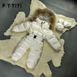 d8fd5eb14 Toddler Baby Boy Winter Duck Down Jacket Ski Snowsuit Fur Collar ...