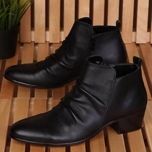 Black Mens High Top Pleated Ankle Boots Zipper Cuban Heel Pointed Toe Shoes sz
