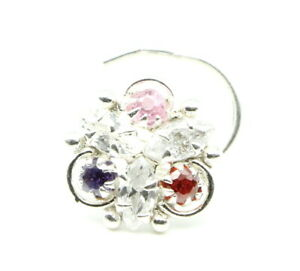 Ethnic-Indian-925-Sterling-Silver-Multicolor-CZ-Studded-Corkscrew-nose-ring-22g