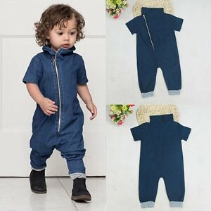 03bae98be4e6 Newborn Toddler Baby Boys Girls Denim Romper Bodysuit Playsuit ...